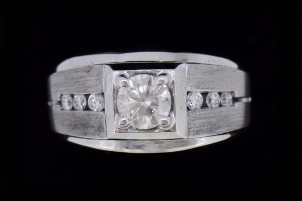 天然美鑽石 設計款粗獷型鑲鑽男戒