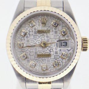 ROLEX 勞力士 69173 白色紀念雕紋面盤 鑽石時標 自動上鍊蠔式女錶