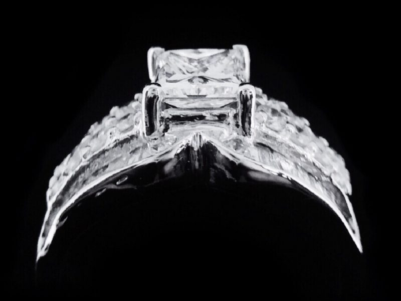 天然公主方美鑽石豪華造型鑲鑽女戒