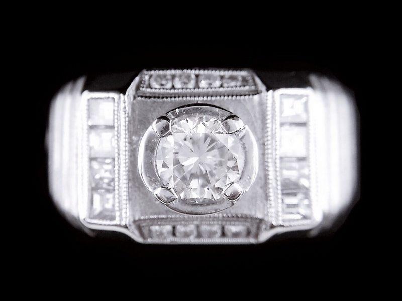 天然美鑽石 豪華設計款鑲鑽男戒