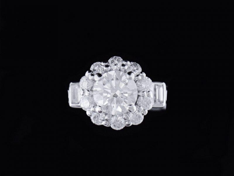 GIA天然鑽石戒指 奢華設計款鑲鑽女戒