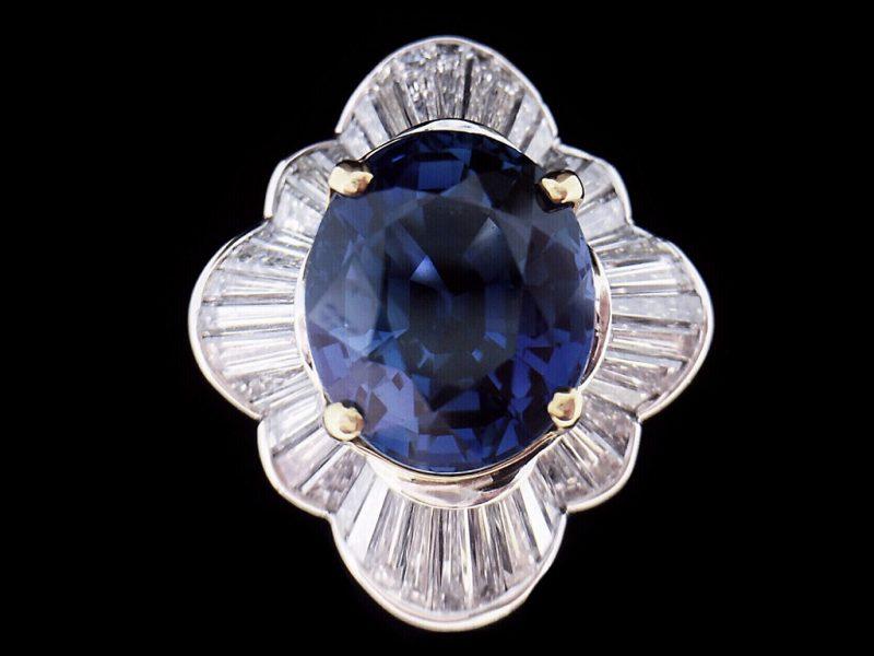 天然頂級藍寶鑲T鑽女戒