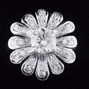天然鑽石戒指 鑲鑽花朵造型女戒