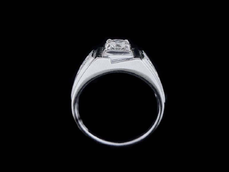 天然美鑽石  設計款鑲鑽男戒
