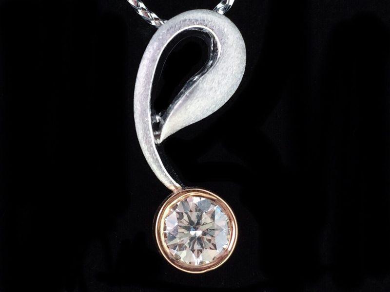 天然美鑽石 設計款雙色女墜